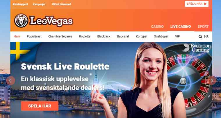 LeoVegas - Välkommen till ett flerfaldigt prisbelönat live casino! Här hittar du tidlös underhållning som aldrig är längre bort än ett svep med fingret